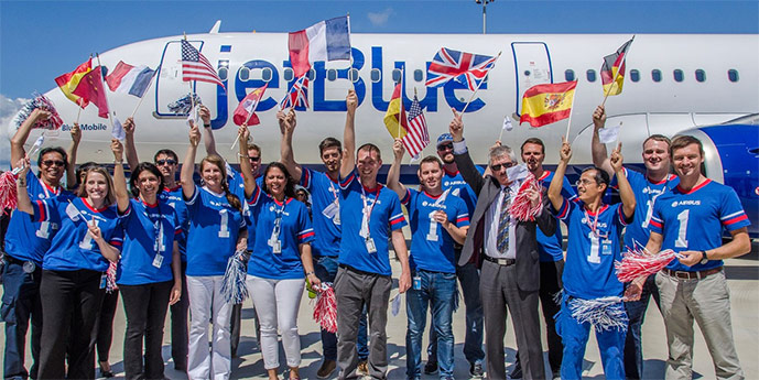Airbus has delivered the first US-assembled Airbus A320 family aircraft to JetBlue Airways.