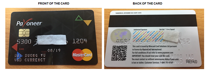 Guideline to take the photo of your card